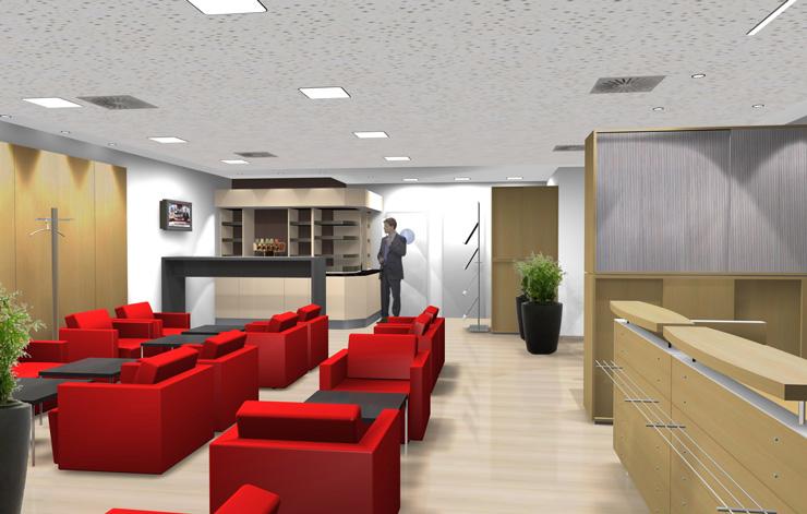 DB Lounge Düsseldorf 3D Visualisierung